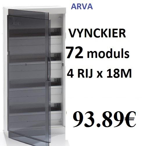 Zekeringkast Vynckier Fix O Rail 72 Modules 4 Rijen X 18 St